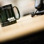 Think Tank mug on a desk